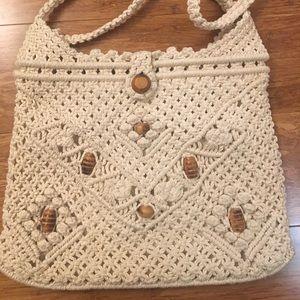 Macrame crochet beaded Boho beige shoulder bag